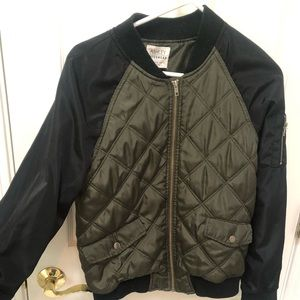 Green and black bomber jacket